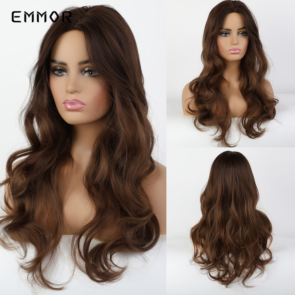 EMMOR Long Wavy Mixed Brown Synthetic Wigs With Bangs Heat Resistant Middle Part Cosplay Natural Hair Wig For White/Black Women
