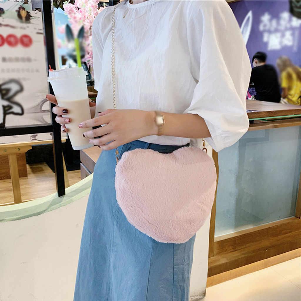 Женская плюшевая сумочка в форме сердца 2019, зимняя сумочка с цепочкой, повседневная Сумочка-клатч, сумки для свадебной вечеринки, сумки через плечо для женщин