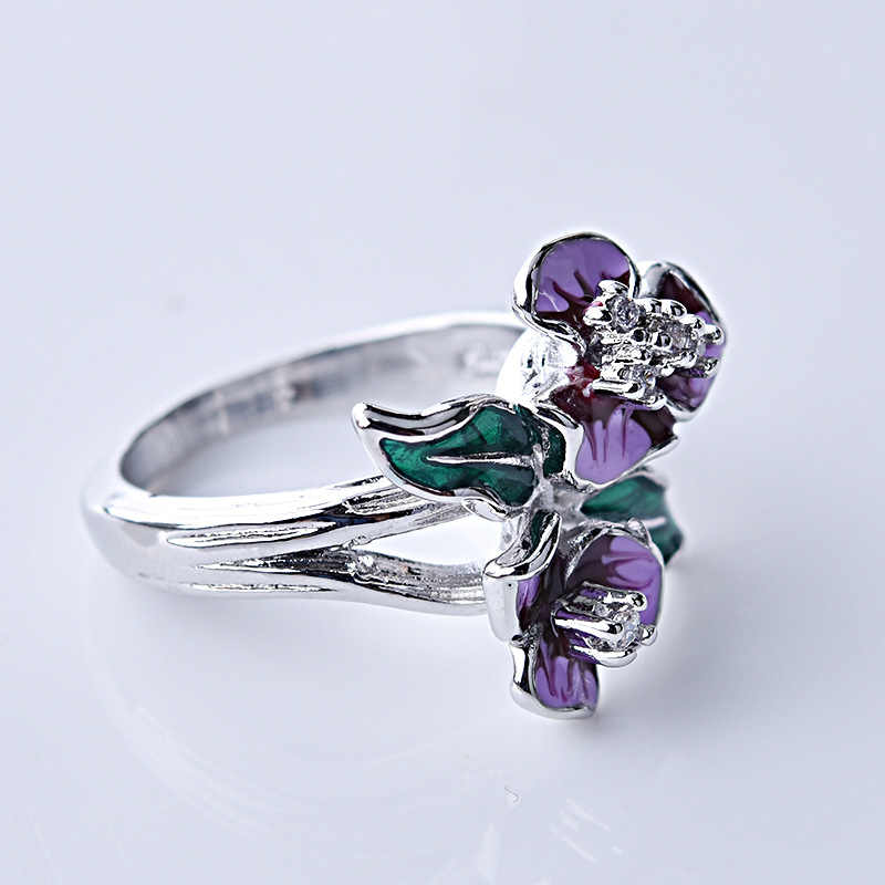 3pcs ชุดเคลือบโบฮีเมียดอกไม้สีม่วงต่างหูแหวนสร้อยคอผู้หญิงงานแต่งงานเครื่องประดับ