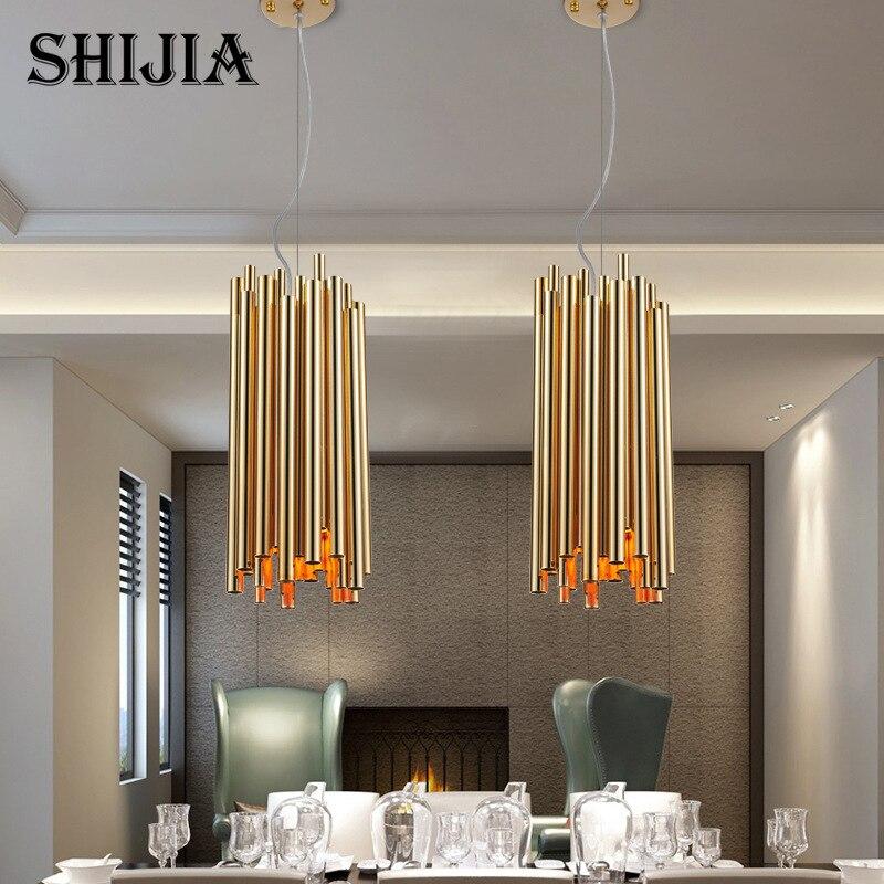 Italien En Métal Tube Ovale Rond Design Créatif pendentif lumière pour la Cuisine De Restaurant Éclairage Décoratif