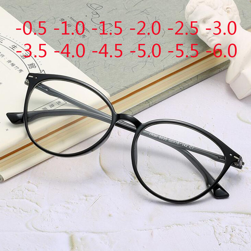 Cat Eye Clear Lens Women Optical Eyewear Myopia Spectacle Glasses -0.5 -1.0 -1.5 -2.0 -2.5 -3.0 -3.5 -4.0 -4.5 -5.0 -5.5 -6.0