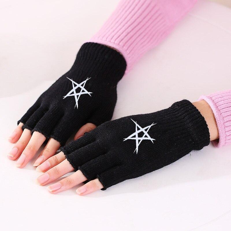 Half Finger Gloves For Men And Women Autumn And Winter Knitted Wool Fingerless Gloves Office Typing Winter Gloves Knitting Black