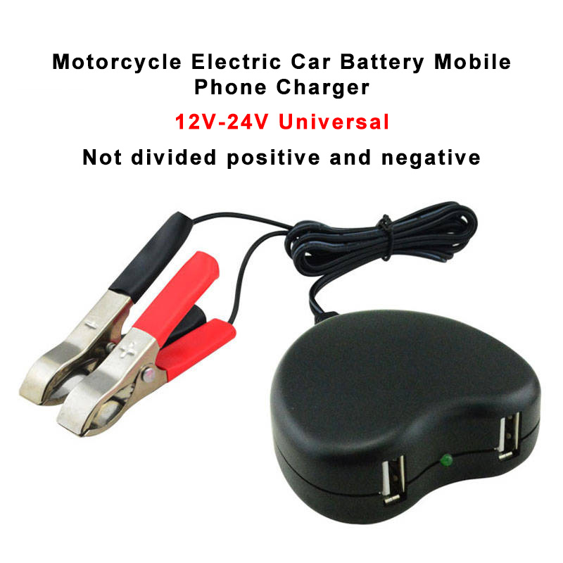 12V 24V Dual-port Motorcycle Electric Car Battery Mobile Phone Charger On Board Motorbike Universal USB To 5V 2.1A Fast Charge