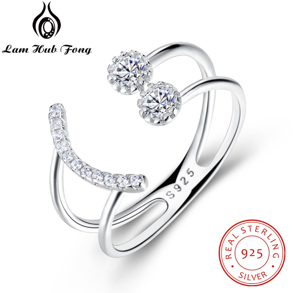 Resizable 925 Sterling Silver Ring Sparkling Cubic Zirconia Smile Face Design Adjustable Ring S925 Silver Jewelry (Lam Hub Fong)(China)