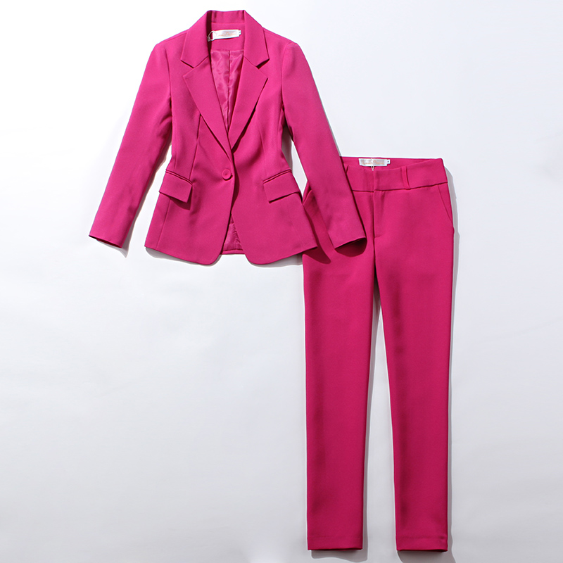 Professional Women's Suit Pants Two-piece 2019 Autumn New Style Slim Red Rose Long Sleeve Ladies Blazer Jacket Casual Trousers
