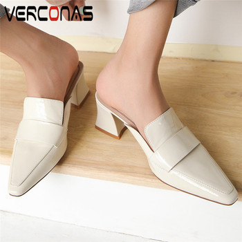 VERCONAS Women Mules Genuine Leather Thick Heel Slippers Sandals Pointed Toe Basic Shoes Shallow Thick Heels Popular Shoes Woman