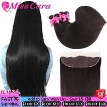 Mechones de pelo liso peruano con Frontal Miss Cara 100% cabello humano Remy, 3/4 mechones con cierre, 13x4 Frontal con mechones