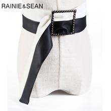 RAINIE SEAN Black White Patchwork Leather Belts for Women Wide Ladies Waist Belt Dresses No Holes Female Accessories