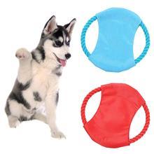 Мягкая тарелка с летающим диском для собак, устойчивая к укусам, обучающая игра, жевательная игрушка