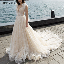 Luxury Wedding Dresses 2020 V Neck Shawl Beaded Lace Wedding Gown Long Train Champagne Bridal Gown Robe de Mariee casamento