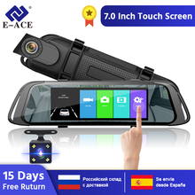 цена на E-ACE A31 Car DVR 7.0 Inch Touch Rear view Mirror 1080P Video Recorder Dual Lens Registrator with Rear View Camera Mirror Camera