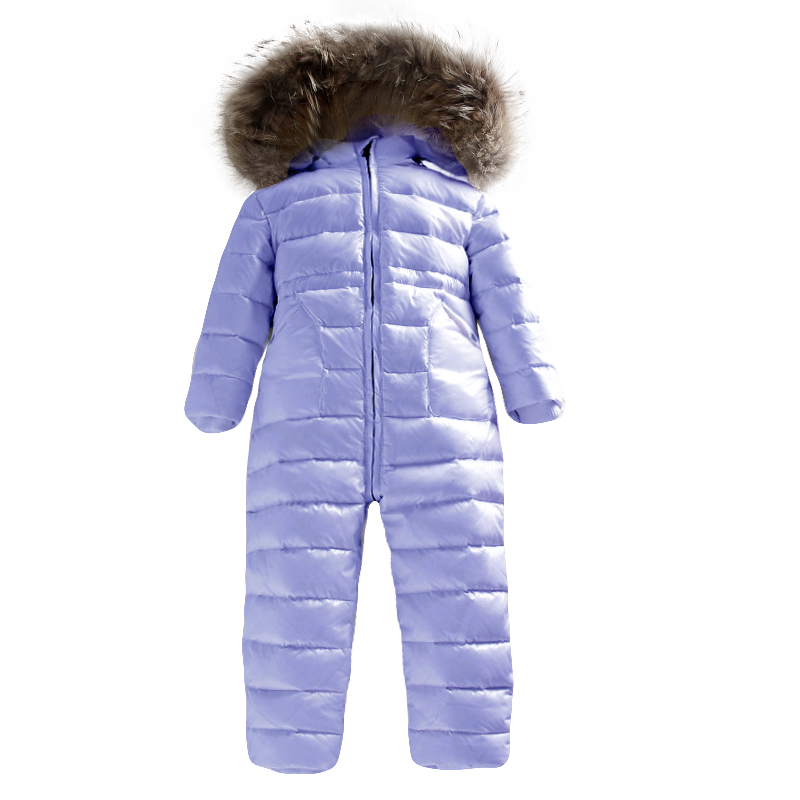 -30 Degrees Russian Winter Girls Boys 2-5Y Winter Overalls Baby Rompers Duck Down Jumpsuit Real Fur Collar Children Outerwear