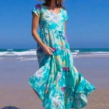 Summer Women Boho Tie Dye Dresses 2021 Plus Size Green Print Short Sleeve Loose Dress Flowy O-Neck Beach Evening Party Dress