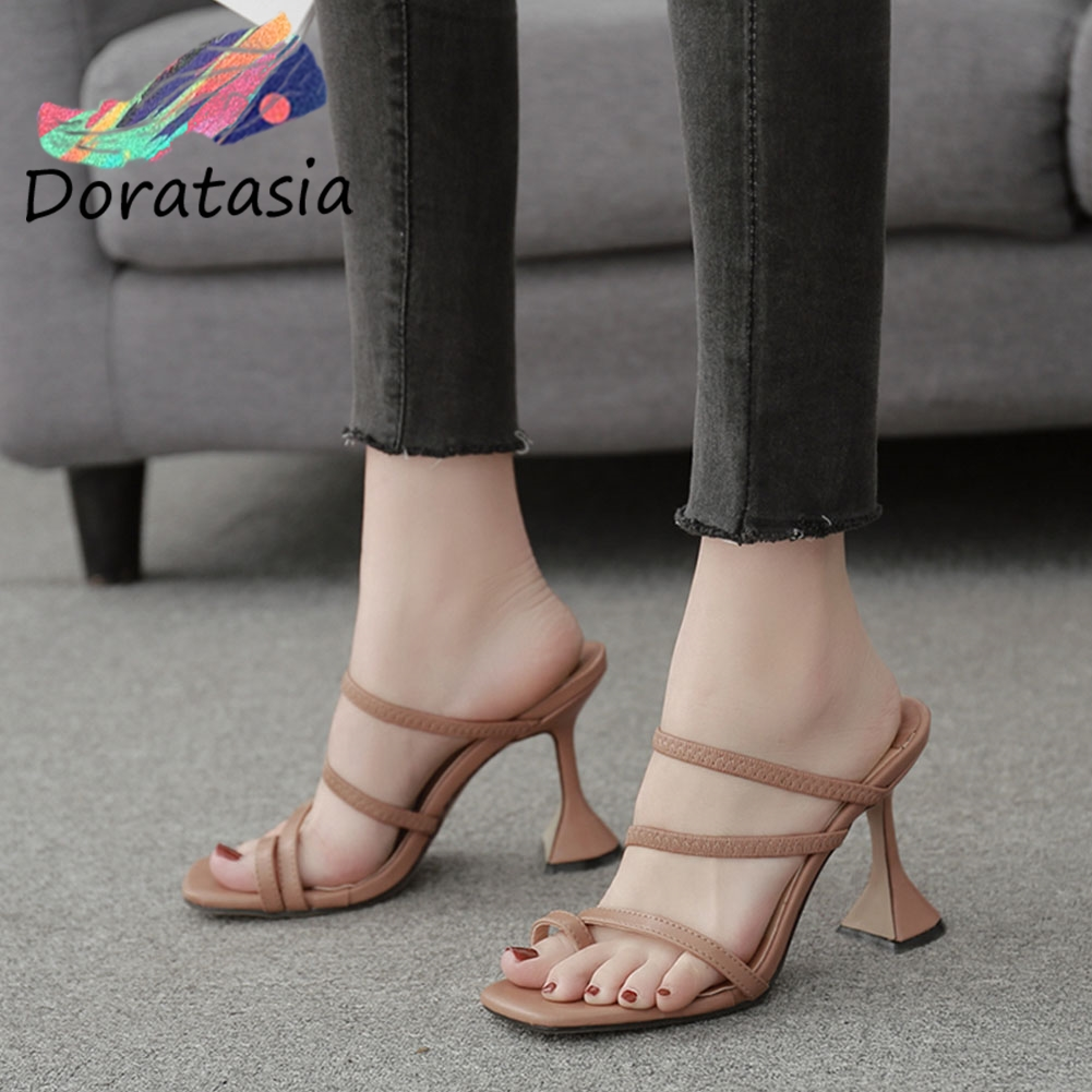 Buy DORATASIA Ins Fashion Girl Square Toe High Heels Slip On Thin Belt Slippers Slippers Women Summer Casual Holiday Shoes Woman