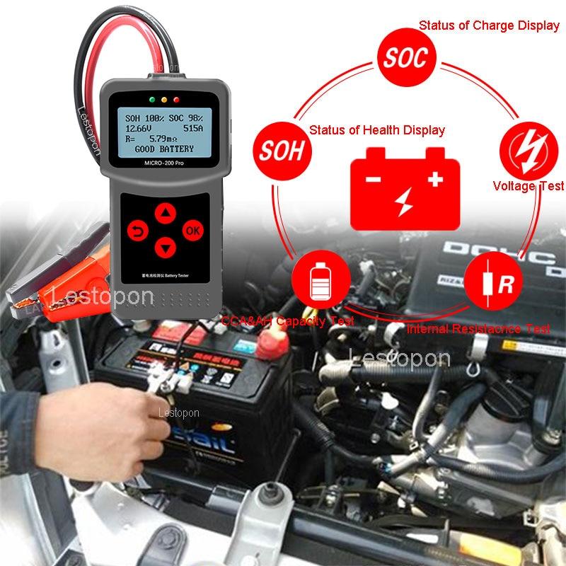 Micro 200 Pro Digital Car Battery Tester 12v 24v AGM EFB Gel Automotive Load Battery System Analyzer Charging Diagnostic