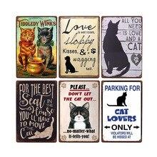 De Metal Vintage gato carteles shabby chic póster de animales Retro, arte de pared de placa para bar Club decoración hogar Decoración 20x30cm