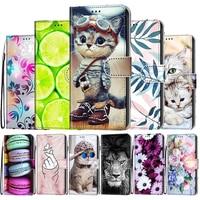 Estampado piel para Huawei Y5 primer Y6 primer Y7 primer 2018 Pro 2019 caso DE 2017 Flip cartera libro lindo Animal gato cubierta del teléfono