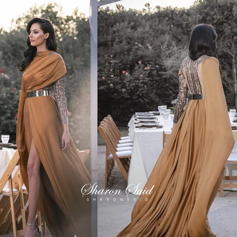 Arabic Long Sleeve Muslim Evening Dress with Cape Gold Belt Elegant Women Dubai Formal Dresses Beaded Slit Wedding Party Gowns