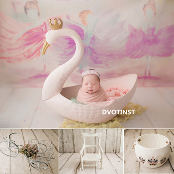 Dvotinst Newborn Photography Props for Baby Iron Posing Swan Tub Cup Basket Fotografia Accessories Studio Shoots Photo Props