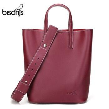 BISONJS Cowhide Leather luxury handbags women bags designer Oil Wax Shoulder Bag iPad A4 Tote Handbag bolsa feminina B1874