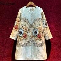 Svoryxiu-abrigo largo Vintage de Jacquard con estampado de flores para mujer, prendas de vestir, chaquetas de talla grande con cuentas de cristal de lujo, Otoño e Invierno