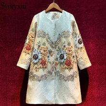 Svoryxiu – pardessus Long Vintage à imprimé floral pour femme, veste de luxe en Jacquard avec perles de cristal, collection automne-hiver