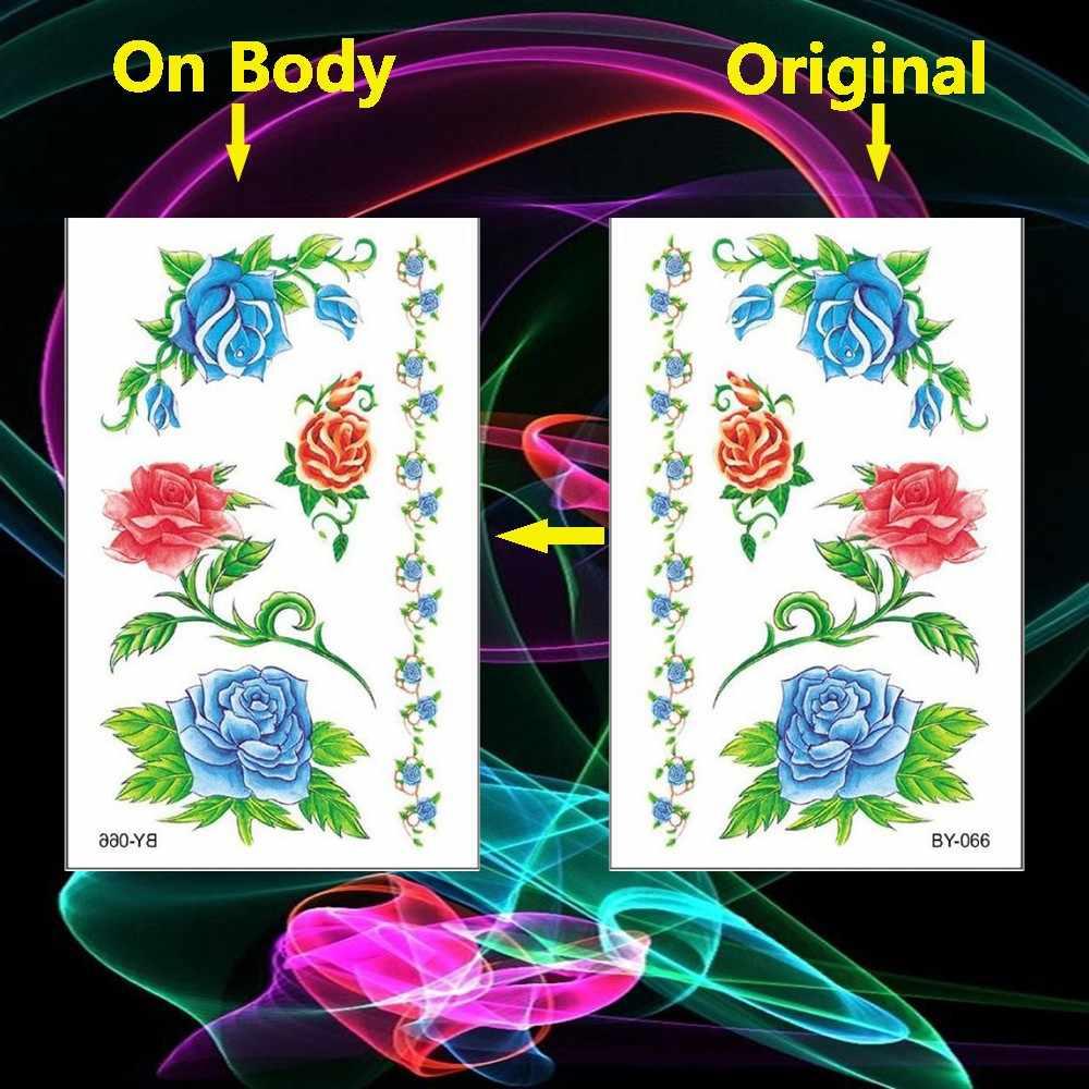 Red Blue Flower Blossom Peony Rose Waterproof Temporary Tattoo Sticker Flash Tattoos Body Art Arm Hand Girl Women Fake Tatoo
