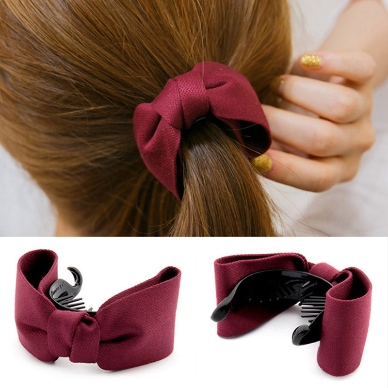 Sweet Girl Solid Hair Clip Large Bow Hair Claws Ponytail Holder Plastic Elastic Band Headwear Hair Accessories For Elegant Women