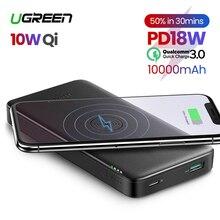 باور بانك من Ugreen بسعة 10000 مللي أمبير في الساعة شاحن سريع محمول شحن سريع 4.0 3.0 QC3.0 Qi شاحن لاسلكي لهاتف آيفون 11 Xs 8 PD
