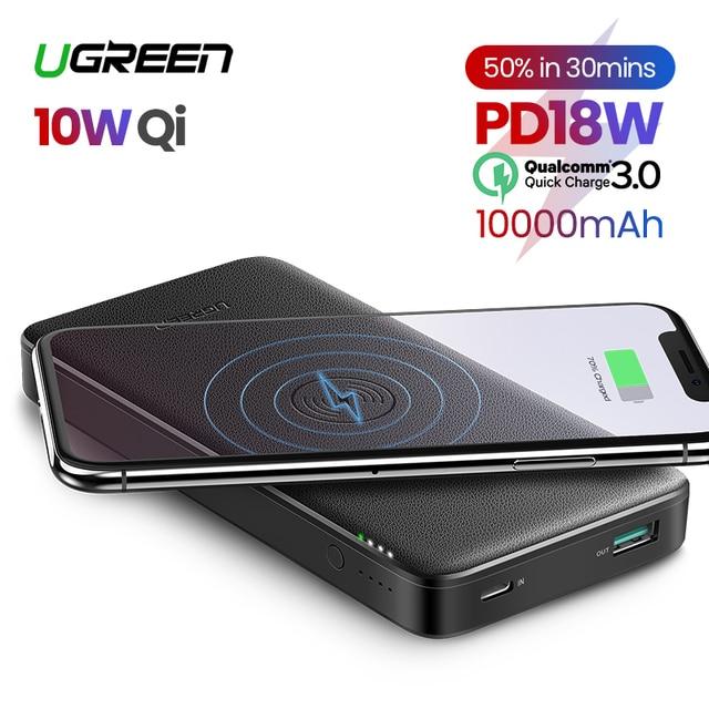 "Ugreen כוח בנק 10000mAh נייד מטען מהיר טעינה מהירה 4.0 3.0 QC3.0 Qi טעינה אלחוטי עבור iPhone 11 Xs 8 פ""ד Poverbank"