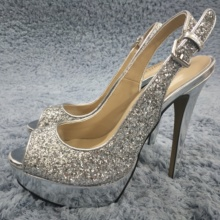 Sexy Silver Glitter Pumps High Heel Bridals Party Women Pumps Summer New Peep Toe Platform Sling Back Stiletto 14cm Heels Shoes enmayla sexy thin high heels 14cm pumps round toe women shoes glitter platform pumps ankle strappy party shoes black red blue