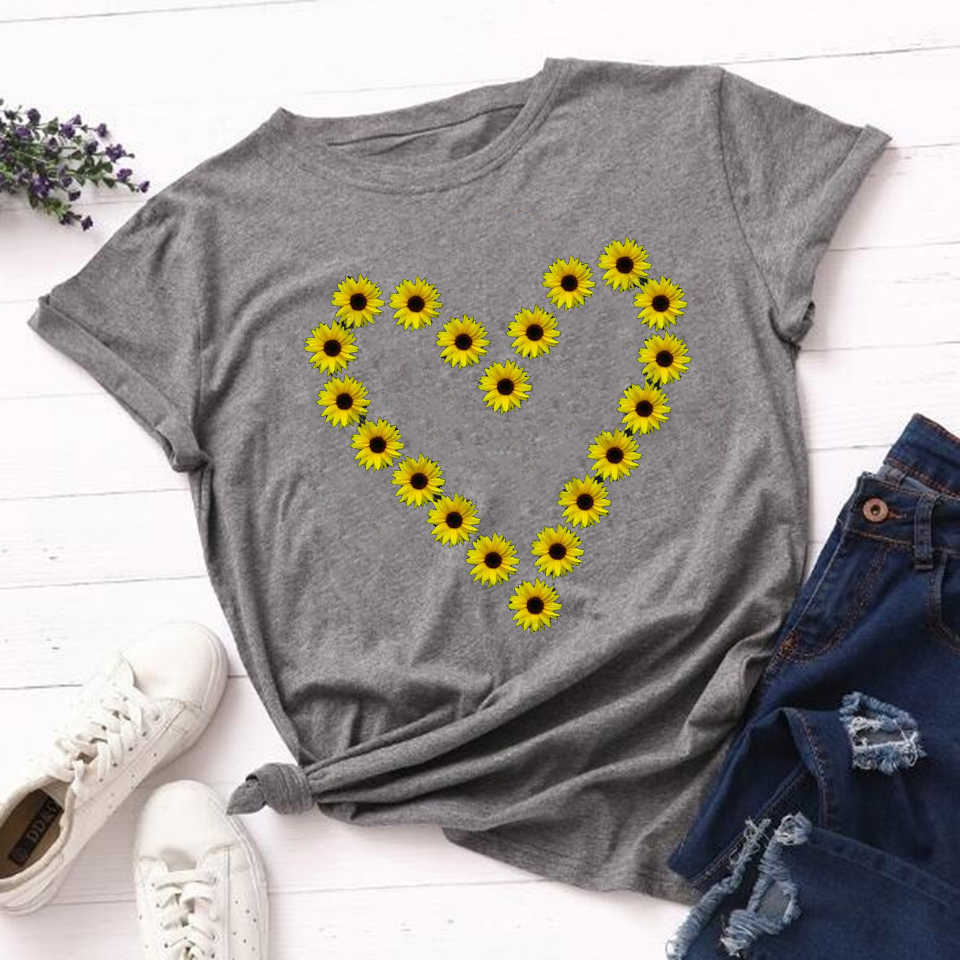 Zonnebloem Geloof T Shirt Vrouwen Harajuku Zwart Tops Vrouwen 2020 Zomer Grappige T-shirts Esthetische Oversized Vrouwelijke Tshirt Tops Mujer