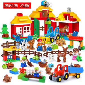DUPLOE Toys Big Size Building Blocks Farm Animal Set Assemble Bricks Toys For Children Gift Compatible With Duploed Toys