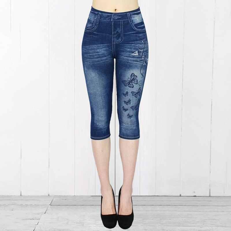 Short Leggings Pants Women High Waist Summer Sport Leggings Ladies Casual Gym Faux Jeans Push Up Workout Legging Trousers Woman