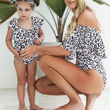 New Special One Piece Swimwear Sexy Leopard Print Parent Child Matching Outfit Slim Hot Spring Swimsuit Women