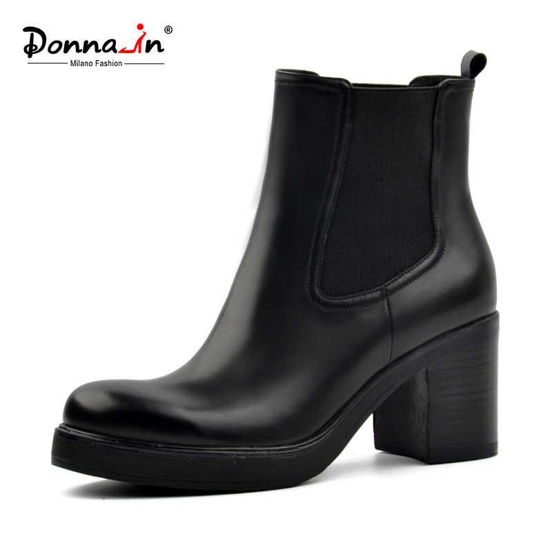 Donna-in Freiheit Verkauf frauen echtes leder schnee stiefel wolle pelz winter booties plattform schuhe high heels Chelsea ankle stiefel