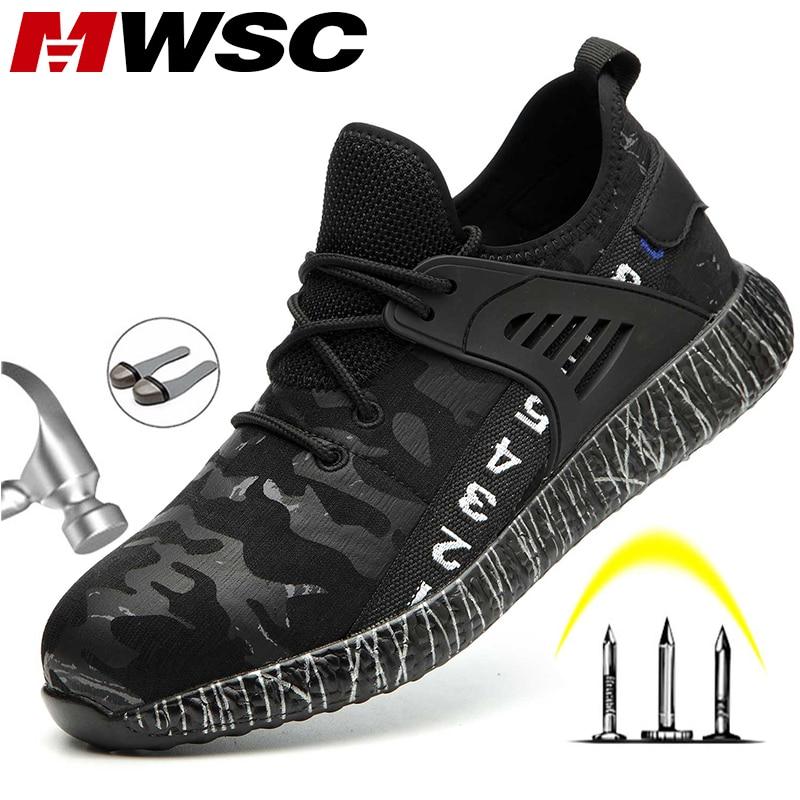 MWSC/безопасные рабочие ботинки; обувь для мужчин; Легкие рабочие ботинки со стальным носком; Мужская защитная обувь; кроссовки