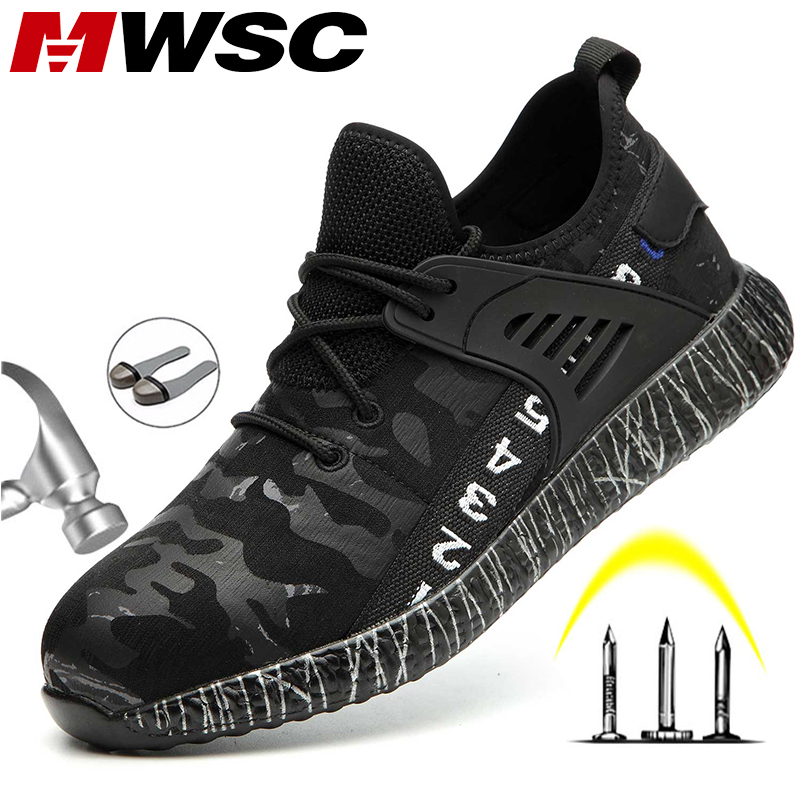 MWSC Safety Work Boots Shoes for Men Light Weight Anti smashing Steel Toe Work Boots Male Construction Safety Shoes Sneakers
