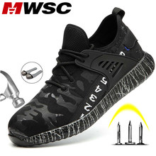 MWSC Safety Work Boots Shoes for Men Light Weight Anti-smashing Steel Toe Work Boots Male Construction Safety Shoes Sneakers(China)