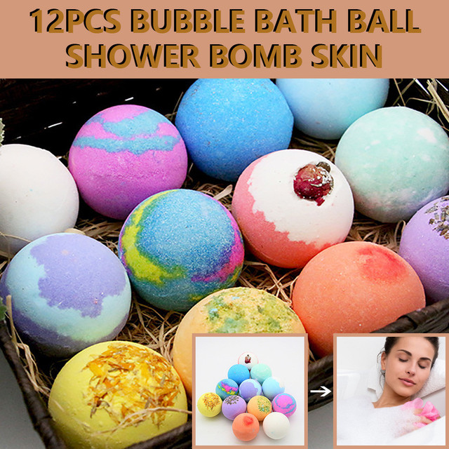 12PCS Bubble Bath Ball Shower Bomb Skin Essential Oil Moisturizing Exfoliating Moisturizing Skin Care Natural Bath Bomb 5