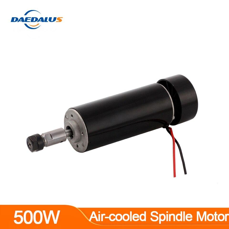 Шпиндель с ЧПУ 500 Вт электродвигатель шпинделя с воздушным охлаждением Цанга ER11 постоянный ток 0-100 в фрезерный станок 52 мм для сверления фре...