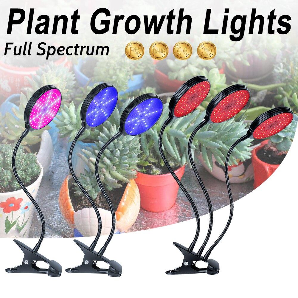 USB Grow LED Full Spectrum LED Plant Growth Lamp Room Red Blue UV IR Adjustable 3-Head Timer Plant Lights Green House Grow Tent