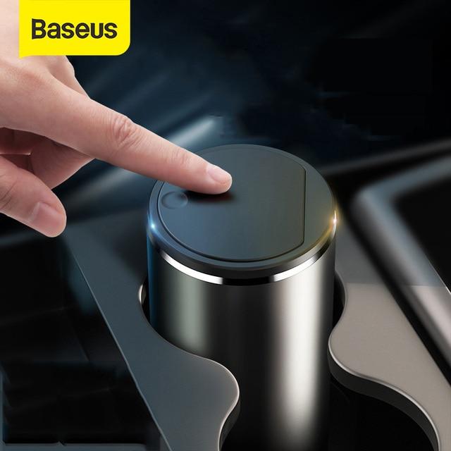 Baseus Alloy Car Trash Can Auto Organizer Storage Bag Car Garbage Bin Ashtray Dust Case Holder Auto Accessories