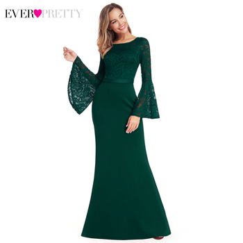 Elegant Lace Prom Dresses Ever Pretty EP00914 Full Flare Sleeve O-Neck Atumun Winter Mermaid Party Gowns Galajurken Lang Dames
