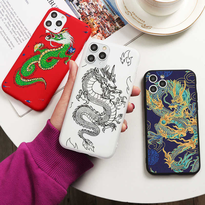 Rode Draak Telefoon Case Voor Iphone 11 7 8 Plus X Xr Xs 11pro Max 6 6S Plus Se 2020 Fashion Animal Silicone Cover Fundas Shell