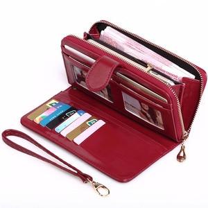2020 New Women Oil Wax Leather Wallet Female Purses Big Capacity Hasp Zipper Purse Ladies Long Wristlet Clutch Coin Card Holders