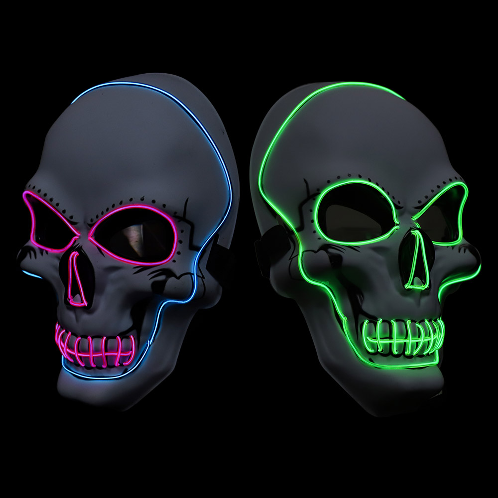 Halloween Scary Mask LED Light Up Skull Masks Cool Costume EL Wire for Halloween Cosplay Festival Parties Glow In Dark Masque