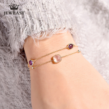 ENZOZB Natural Furong stone 18k Pure Gold Female Bracelets Fine Jewelry  Gift Girl Thin Trendy Solid 750 Real Bangle  Good Nice 1