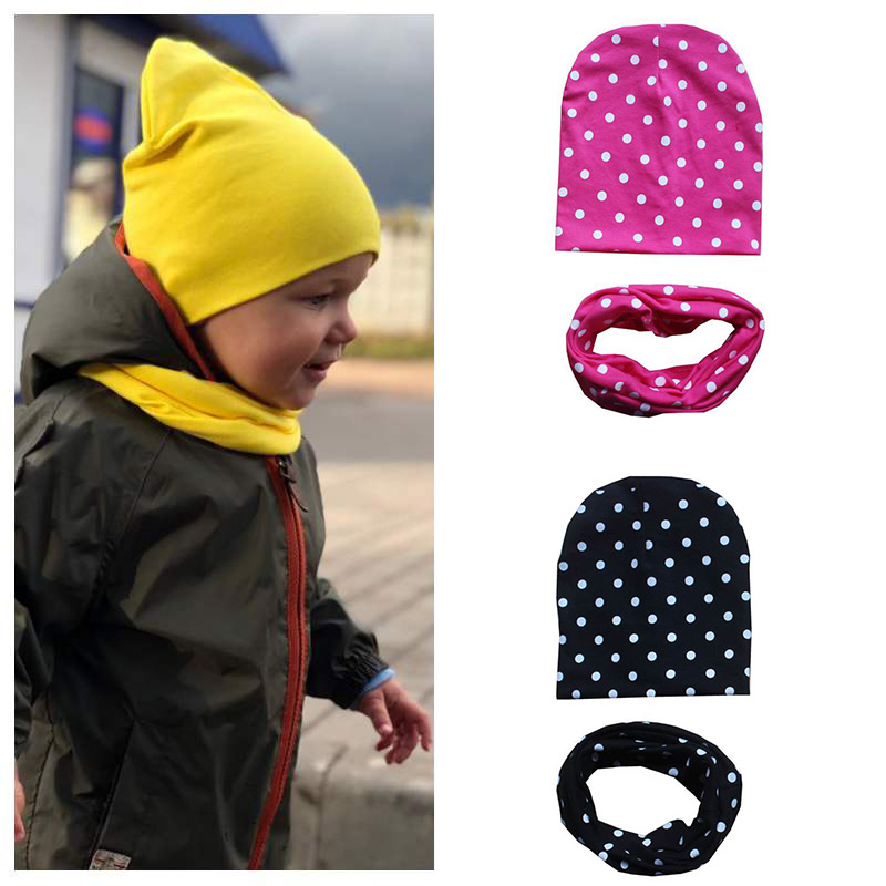 Scarf Hat Spring Kids Beanie Knit Girls Autumn Cotton Solid for Boys 2pcs/Set Solid-Color-Caps