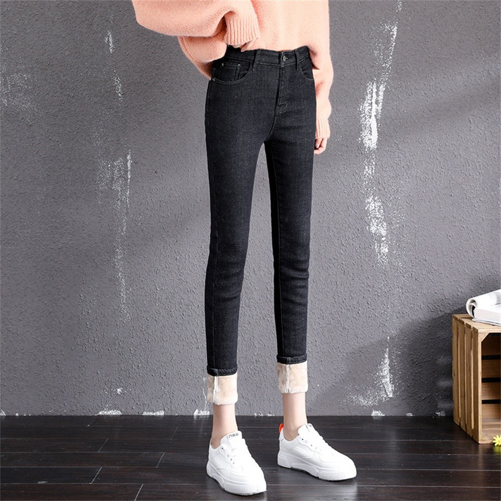 BEFORW Women Jeans Winter Warm Plus Velvet Thickening Jeans High Waist Skinny Stretch Plus Size Zipper Straight Pencil Jeans